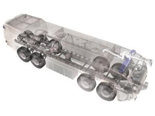 Esquema del Dragon 8X8 con su curiosa disposición trasera bimotor.