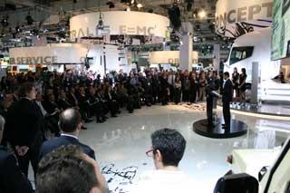 La multinacional italiana Iveco fue una de las que congregó mayor interés entre los periodistas asistentes al IAA.
