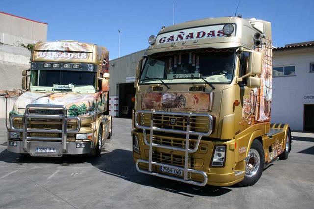 Las joyas de la corona son estas dos tractoras, correspondientes a bandos irreconciliables de la familia; Volvo y Scania.