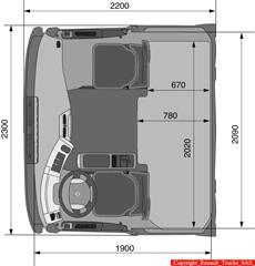 Las dimensiones de una cabina compacta pero con un habitáculo más que suficiente.