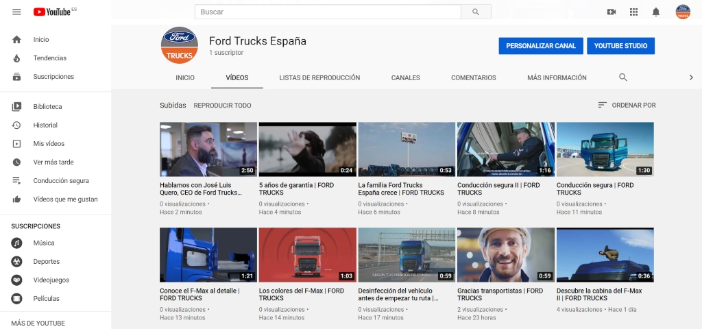 Nuevo canal de YouTube de Ford Trucks España