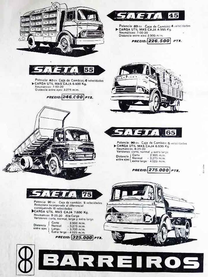 Características principales de la gama Barreiros Saeta a mediados de los años 60 del siglo XX.