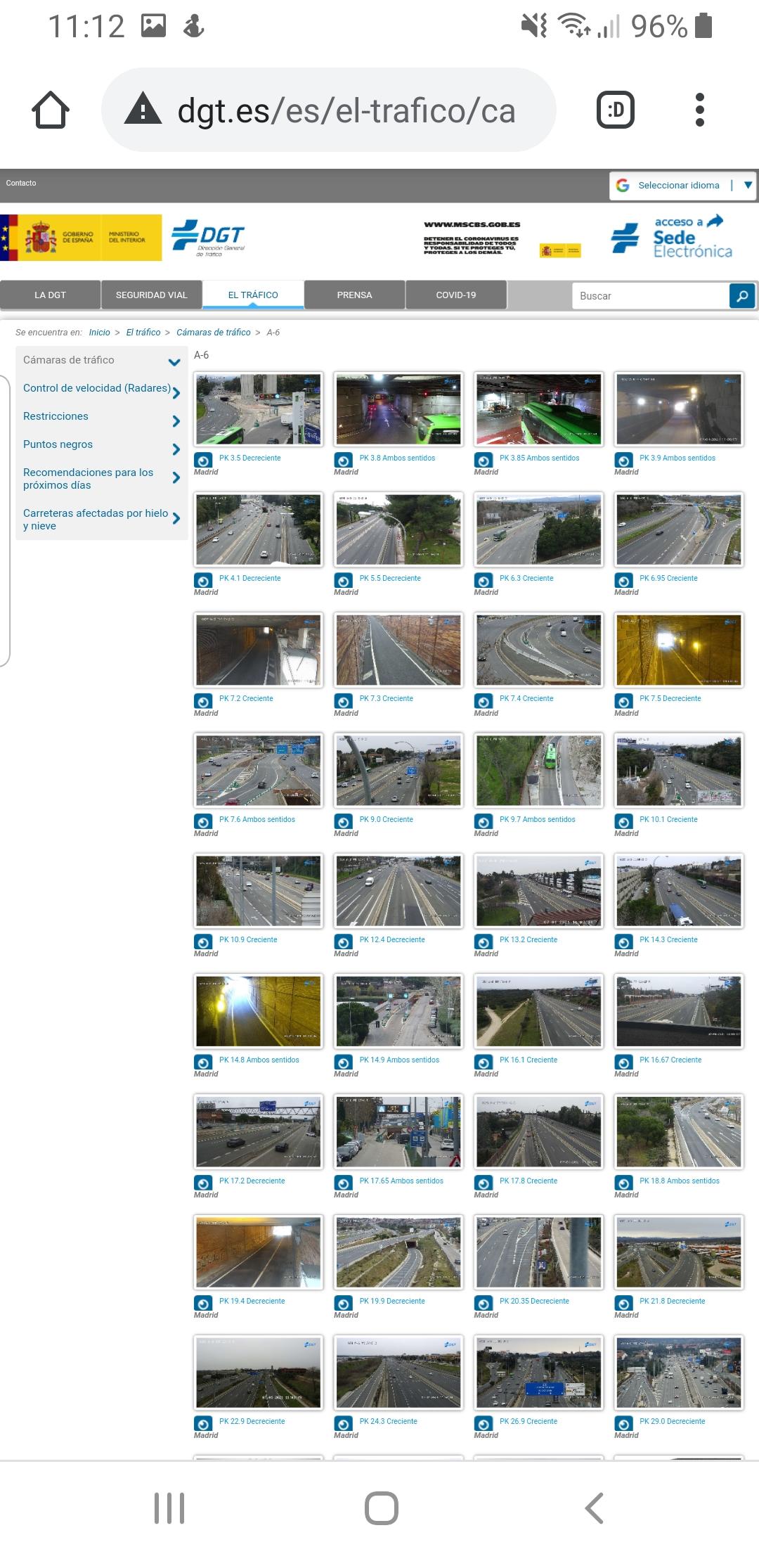 Pantalla web DGT cámaras tráfico A-6