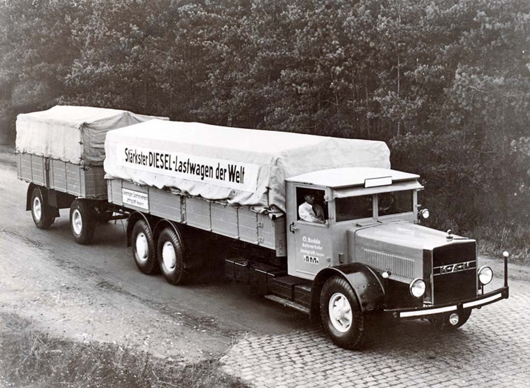 Este camión MAN tres ejes fue en su momento el mayor camión del mundo con motor diésel, era en 1932.